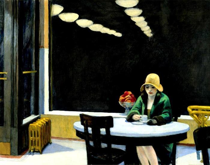 """""""Automat"""", de Edward Hopper - uma das pinturas citadas e analisadas no livro"""