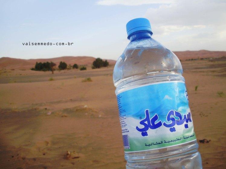 Uma garrafa de água gelada no Deserto do Saara - apenas o essencial.
